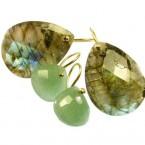 grote peer druppels labradoriet en kleine peer druppels jade