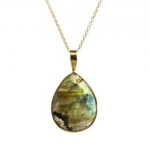 Gold Pendant Big Labradorite Drop In A Setting – P1009