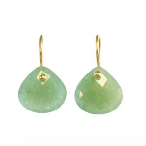 Jade Gold Plated Tear Drop Earrings – E8001
