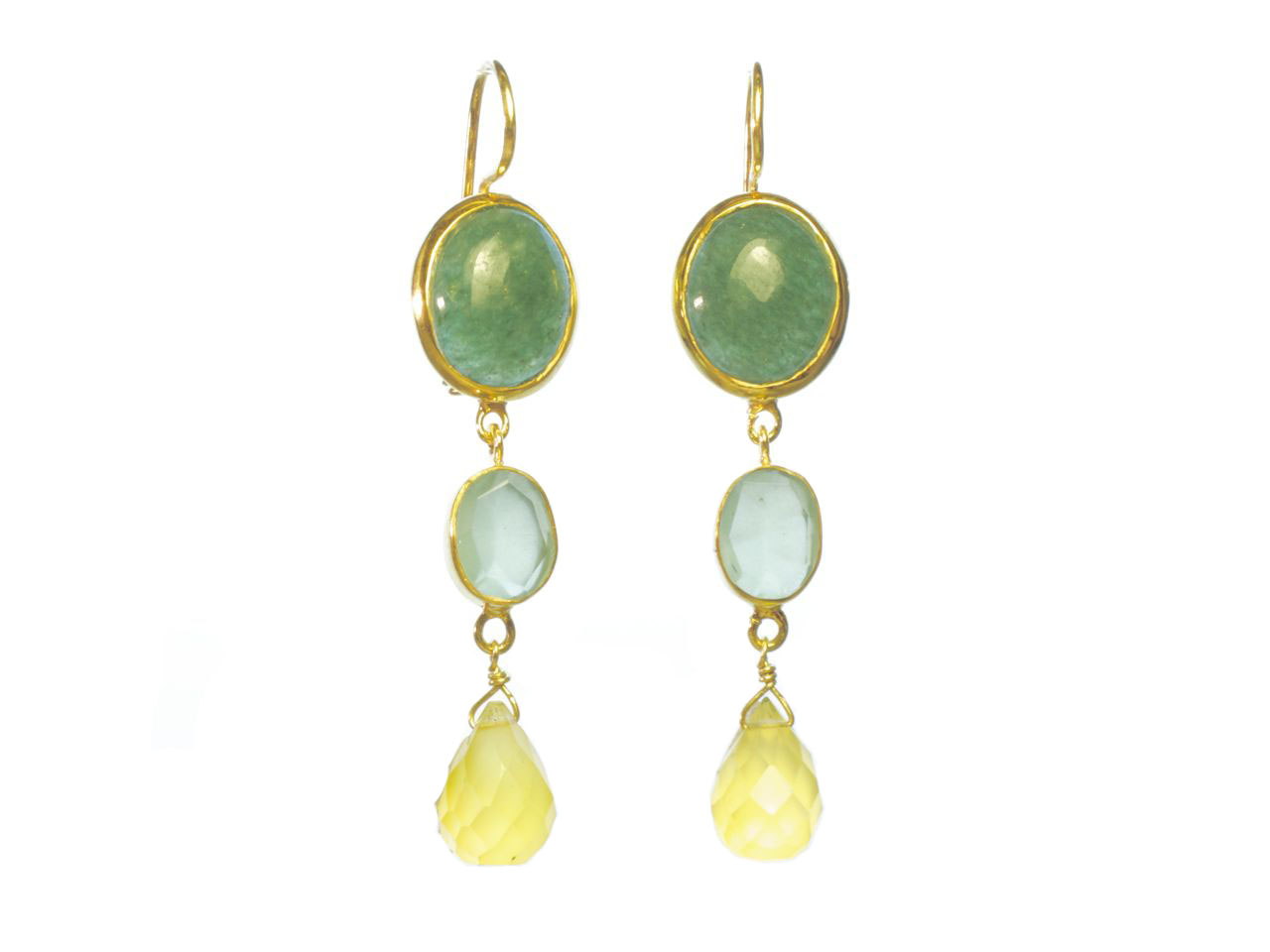 Earring Jade Chalcedony And Yellow Onyx