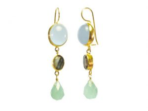 Earring Chalcedony, Labradorite And Chalcedony