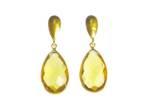 Earring Citrine Long Studs – E1373