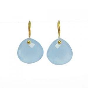Chalcedony Gold Plated Tear Drop Earrings – E8001