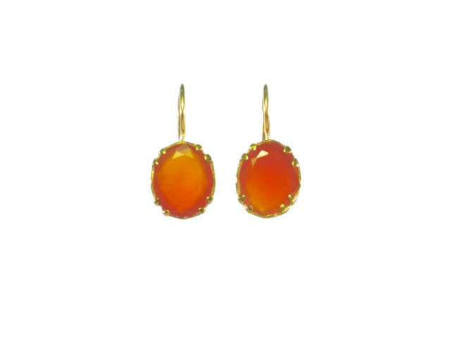 Earring Gold With Facet Cut Carnelian – E9509