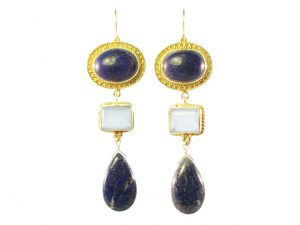 Earring Classic Long Lapis And Chalcedony – E1321