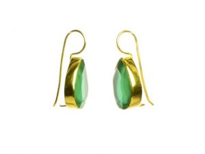 Earring Green Onyx Drops With Setting