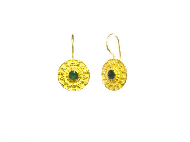 E8326 V Coin Etruscan Green Onyx Earring