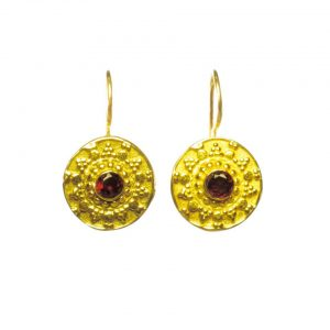 Small Asian Etruscan Garnet Coin Earring – E8326