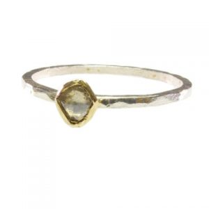 Silver, 18k Gold And Diamond Ring