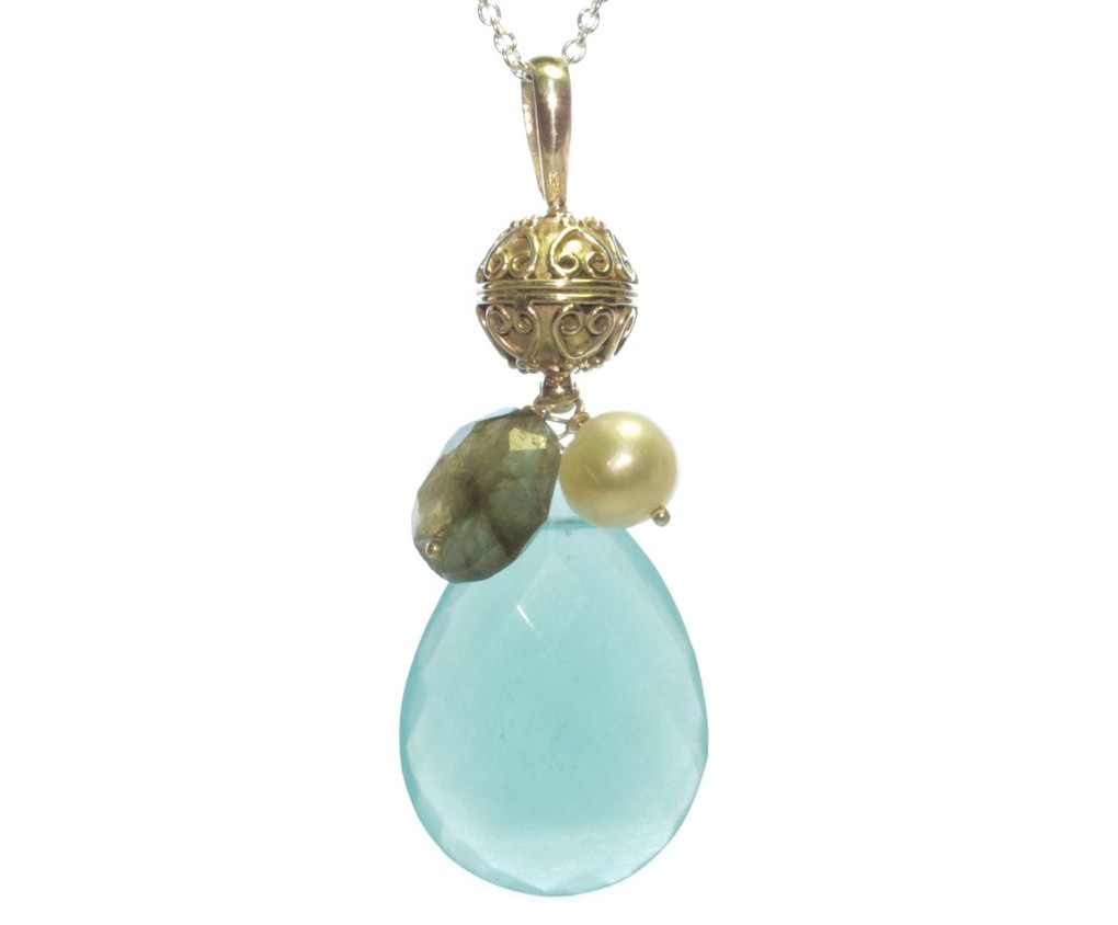 Silver Pendant Chalcedony With Pearl And Labradorite – P9502