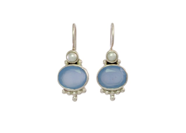 Silver Earring Oval Blue Chalcedony With Pearl – E3012