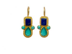 Earring With Lapis And Onyx In Etruscan Setting – E1032