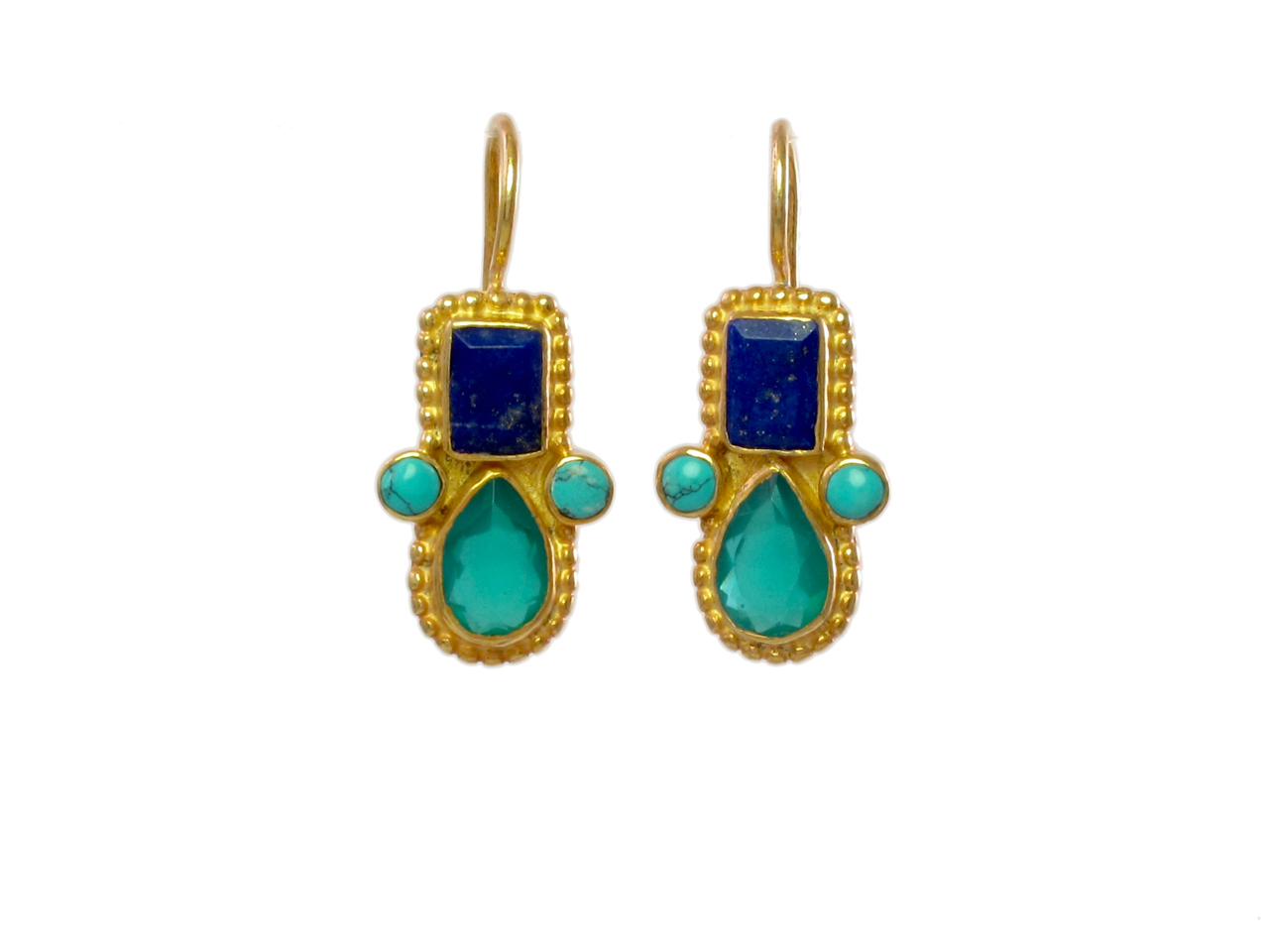 Earring with rectangle moonstone and drop lapis lazuli E1032