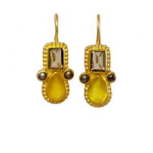 Earring Smokey Topaz And Yellow Onyx In Etruscan Setting – E1032