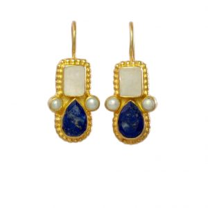 Earring Moonstone And Lapis Lazuli In Etruscan Setting – E1032