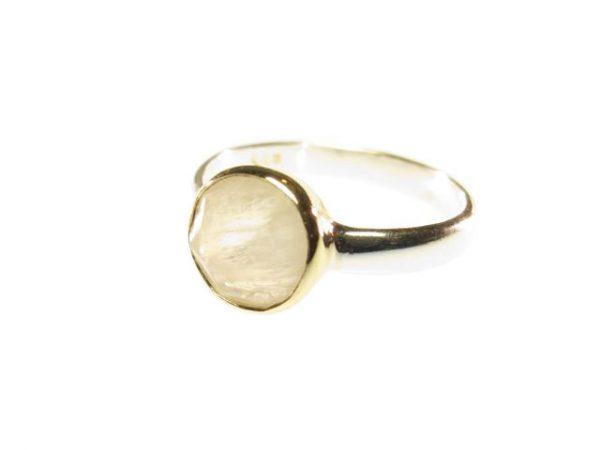R1271 ronde facet gem maansteen ring