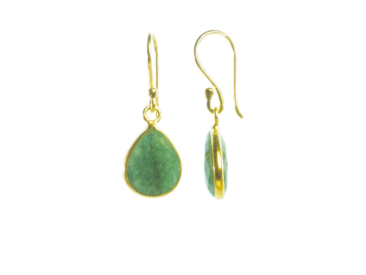 Earring Small Facet Cut Jade Tear Drop In A Setting – E1199