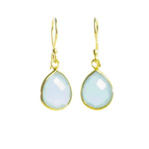 Earring Small Facet Cut Blue Chalcedony Tear Drop In A Setting – E1199