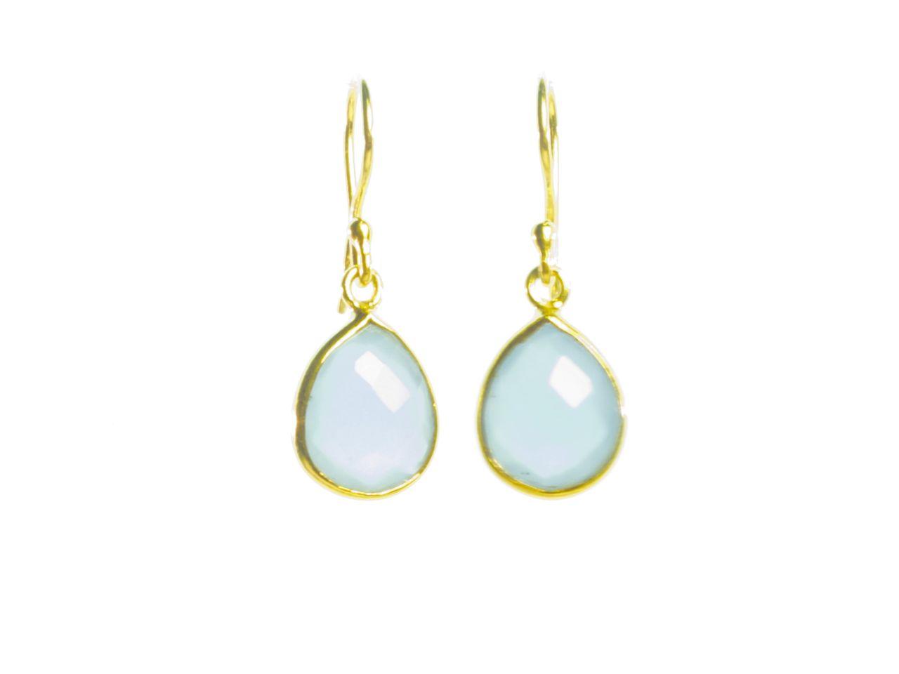 Earring Small Facet Cut Blue Chalcedony Tear Drop In A Setting – E1199