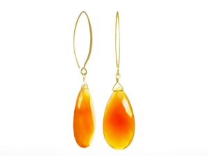 Earring Facet Cut Long Loose Drop Carnelian With Large Marquis Hook – E1169