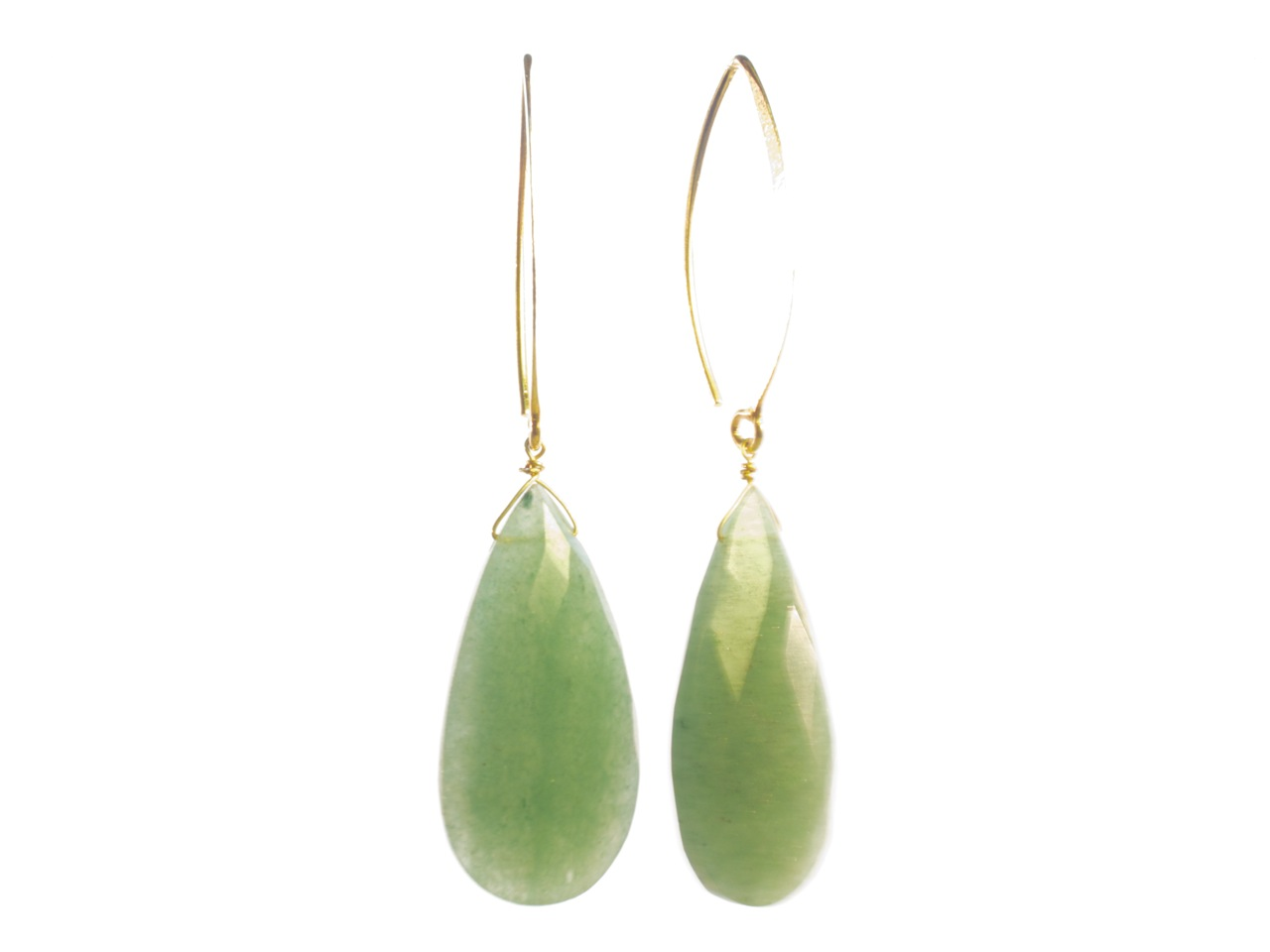 Earring Facet Cut Long Loose Drop Jade With Large Marquis Hook – E1169