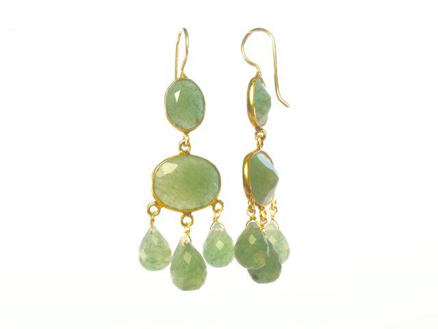 E1047 V Gabrielle D'Estree Gemstone Jade Earrings