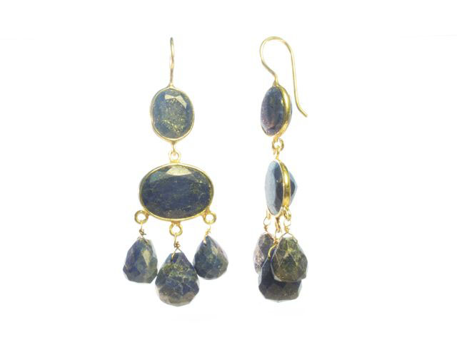 E1047 V Gabrielle D'Estree Gemstone Lapis Lazuli Earrings