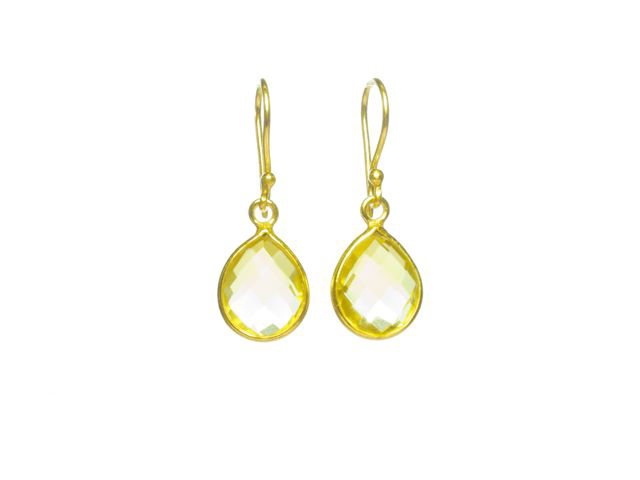 Earring Small Facet Cut Citrine Tear Drop In A Setting – E1199