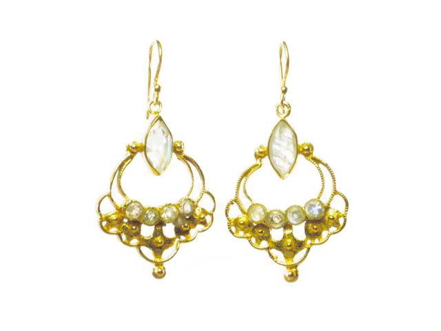 Earrings With Small Facet Cut Moonstones – E8365