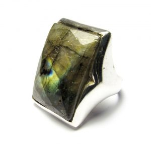 Silver Rectangular Big Ring Labradorite