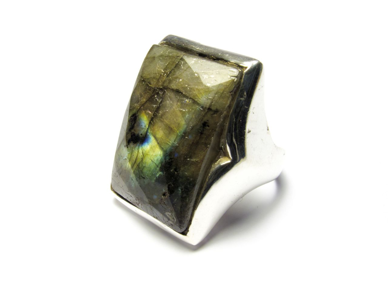Silver Rectangular Big Ring Labradorite