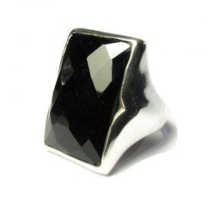 Silver Rectangular Big Ring Onyx