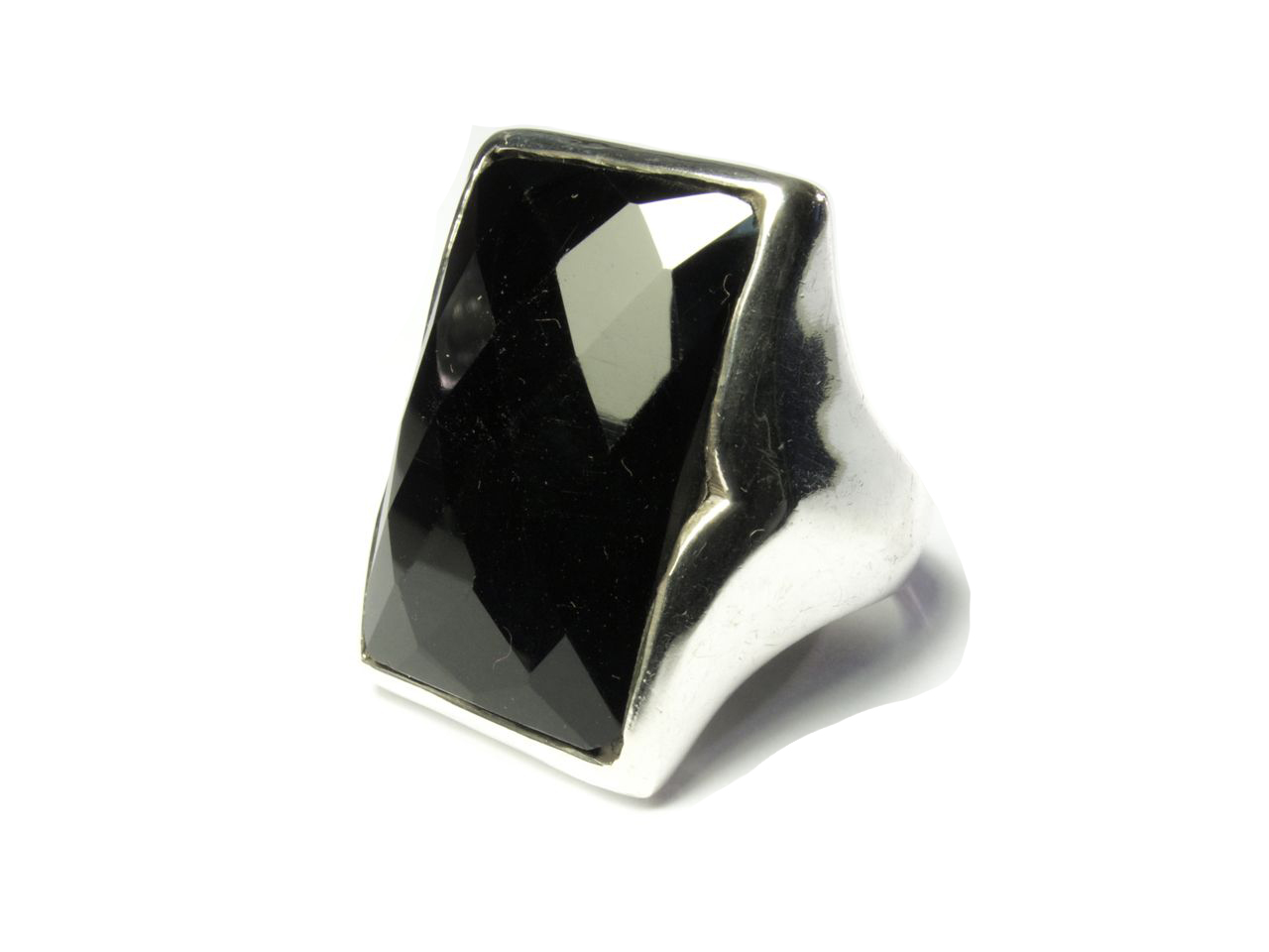 Silver Rectangular Big Ring Onyx