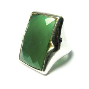 Silver Rectangular Big Ring Green Onyx