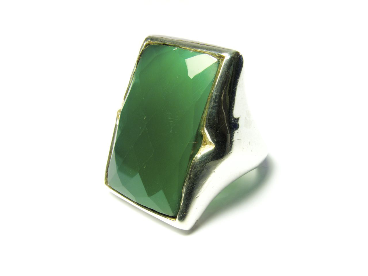 Silver Rectangular Big Ring Green Onyx