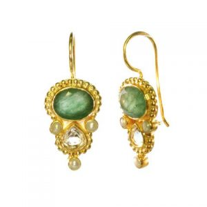 Earring With Oval Jade And Tear Drop Citrine In Etruscan Setting – E13118