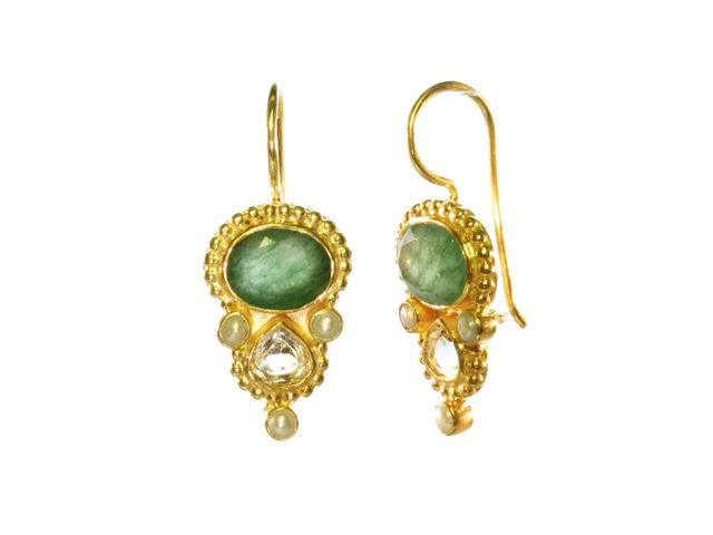 Ovaal jade en druppel citrien Etruscan earrings E13118