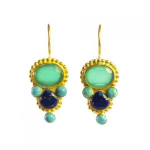 Earring Green Onyx And Lapis Lazuli In Etruscan Setting – E13118