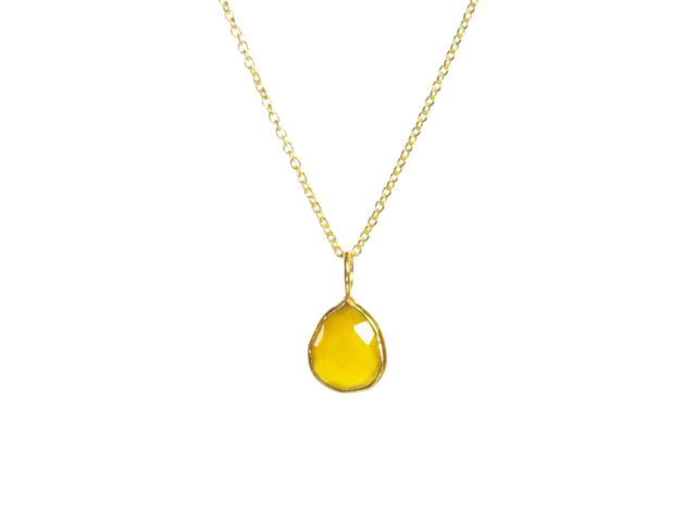 Gold Pendant Yellow Onyx Tear Drop Fine Setting – P1006