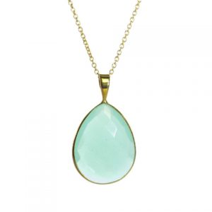 Gold Pendant Big Aqua Chalcedony Drop In A Setting – P1009