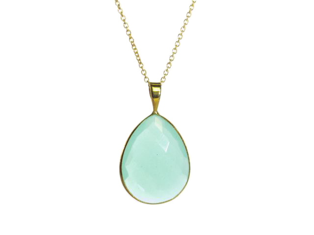 Gold Pendant Big Aqua Chalcedony Pear Drop In A Setting