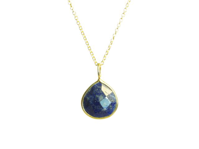 Gold Pendant Lapis Lazuli Pear Drop Fine Setting – P1007