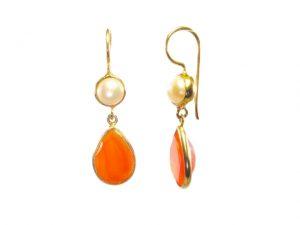 Classic Earring Carnelian Pear Drop And Pearl