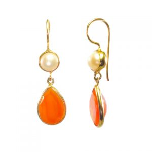 Classic Earring Carnelian Pear Drop And Pearl