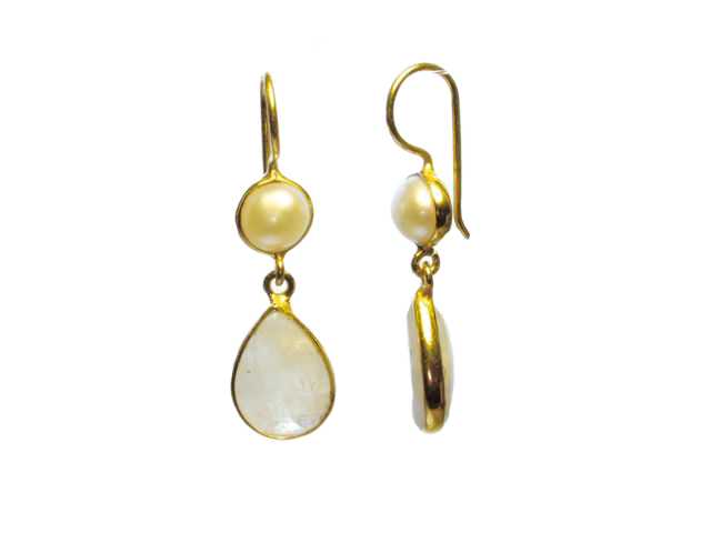 Classic Earring Moonstone Tear Drop And Pearl