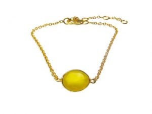 Fine Bracelet With Small Yellow Onyx