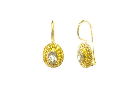 Small Earring Zircon In Big Setting – E025