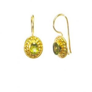 Small Earring Peridot In Etruscan Setting – E025