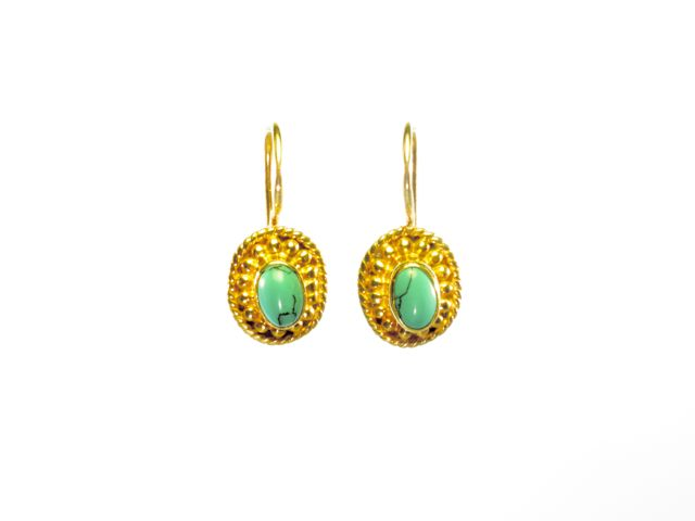 Small Earring Turquoise In Asian Etruscan Setting – E025
