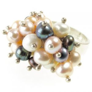 Silver Multi Color Fresh Water Pearl Cocktail Ring – R013